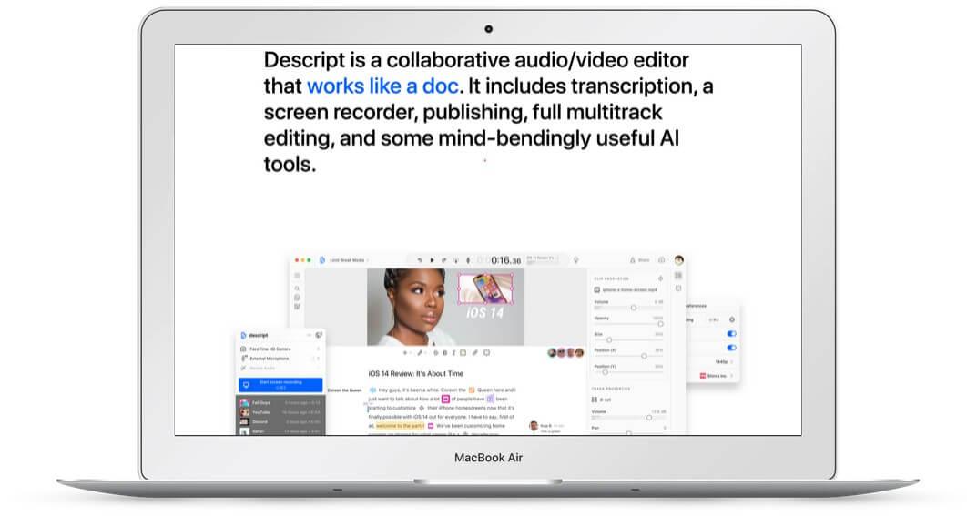 Picture of Descript App on Laptop