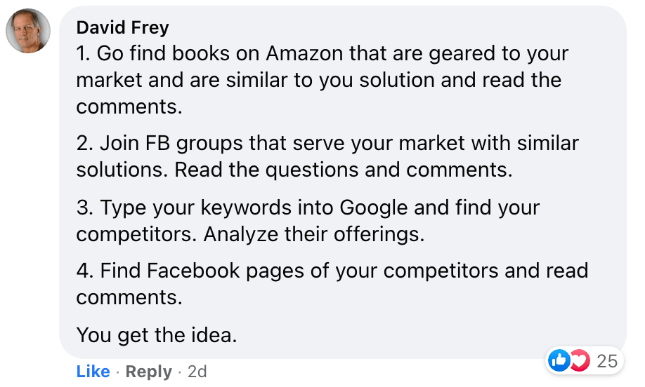 How to learn more about your market - response from David Frey