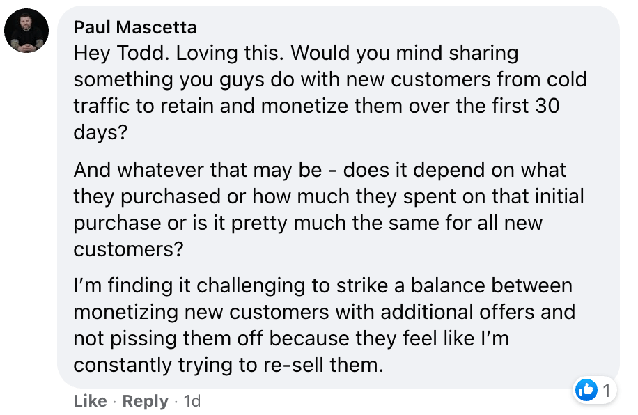Screenshot of a Marketing question from inside the MFA Nation Facebook Group