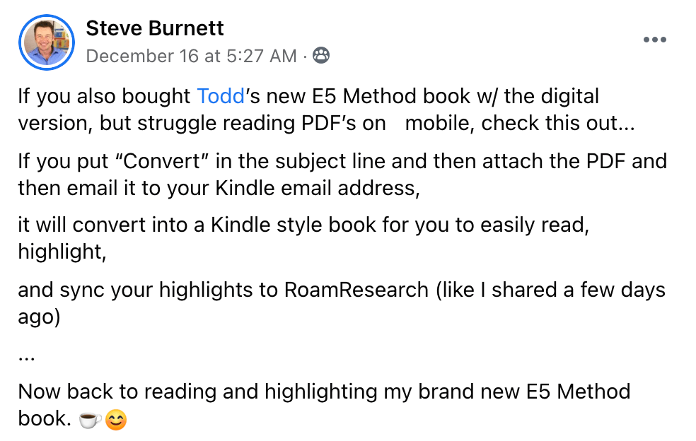 Reading Todd Brown's E5 Method Book On Kindle