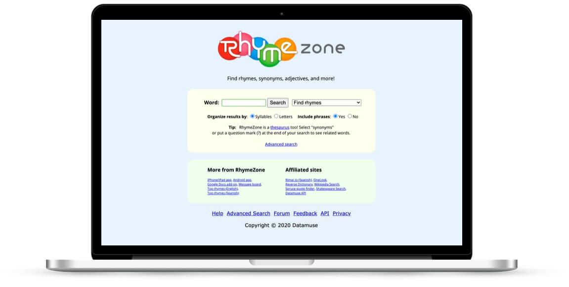 Screenshot of rhymne zone website