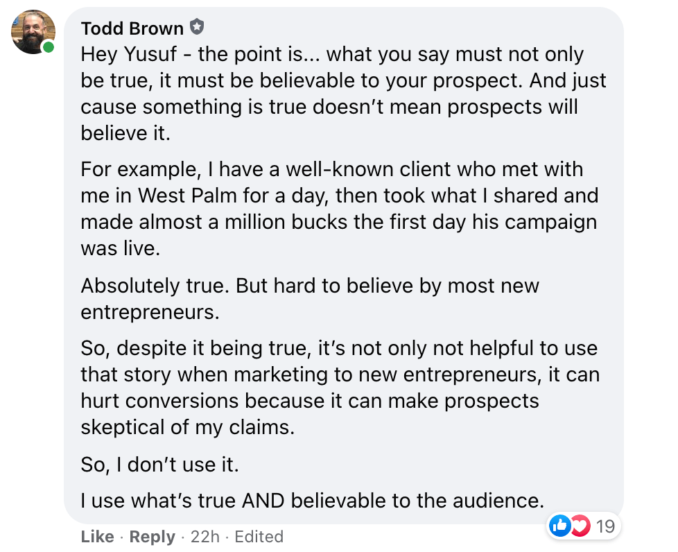 Todd Brown answers a marketing question