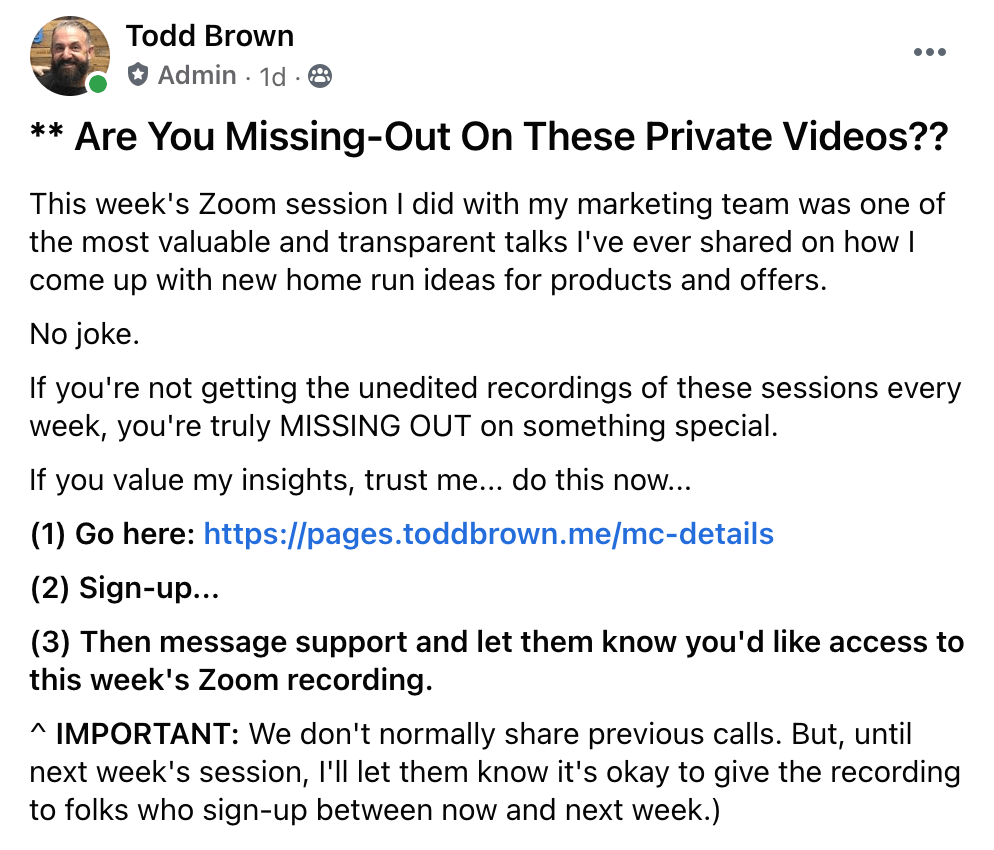 Todd Brown regarding his Weekly Marketing Training