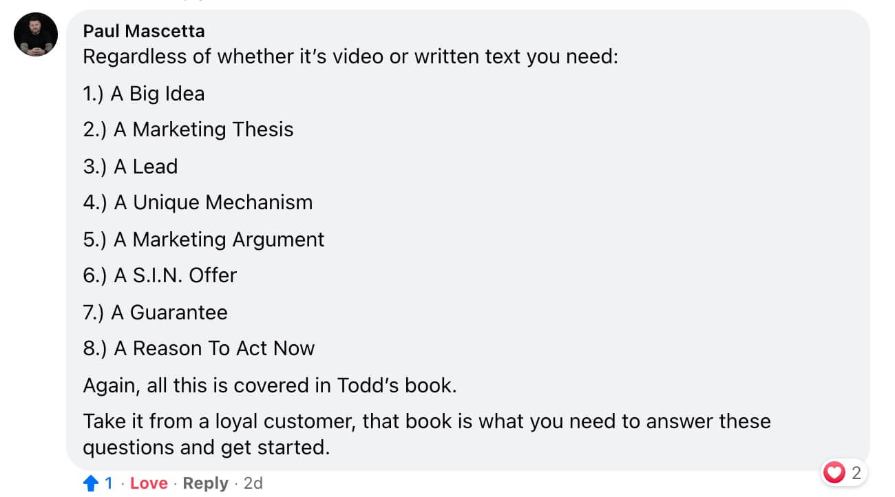 Marketing Question Answered in Facebook Group