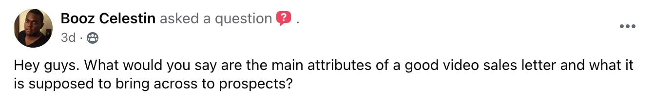 Marketing Question Asked in Facebook Group