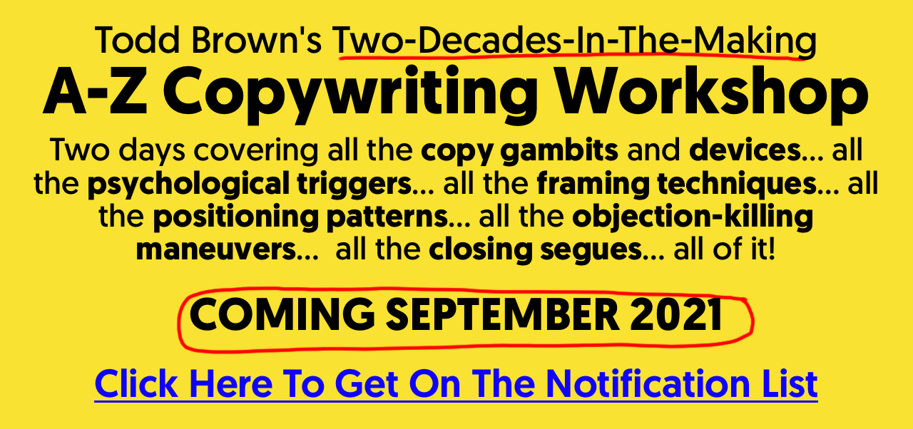 Todd Brown Copywriting Workshop Banner 2
