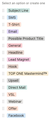 Todd Brown Marketing Idea List Categories