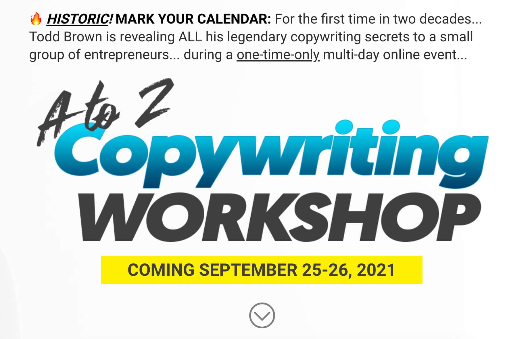 Todd Brown A-Z Copywriting Workshop